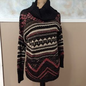 Lucky Brand cowl wool blend tunic sweater top